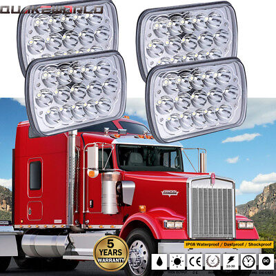 For Kenworth T400 T600 Classic 120/132 4US DOT 4pcs 7X6 LED Headlight Sealed DRL