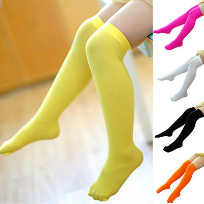 Kids Toddler Girls Solid Over Knee Socks Tights Leg Warmer High Stockings Clever