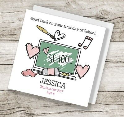 Personalised first day at of school greeting card pink girls personalised first day at of school greeting card pink girls m4hsunfo