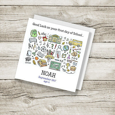 Personalised first day at of school greeting card 295 personalised first day at of school greetings card m4hsunfo