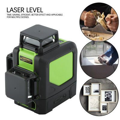 New Laser Level 12-Line Green Self Leveling 3D 360° Rotary Cross Measure Tool US