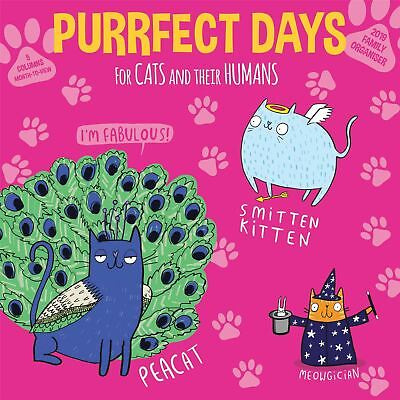 Purrfect Days Family Organiser Planner Official 2019 Wall Calendar New & Sealed