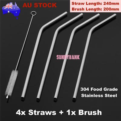 4x Stainless Steel Metal Drinking Straw Straws Bent Reusable Washable +1 Brush