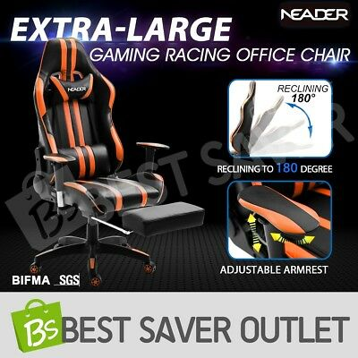PU Leather Office Computer Sport Gaming Racing Chair Seat w/Retractable Footrest