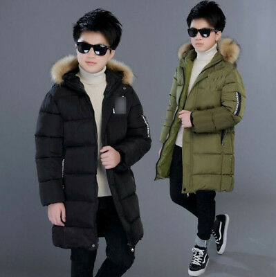 Winter Kids Boys Thick Cotton Down Jacket Fur Collar Quilted Coat Padded Parka