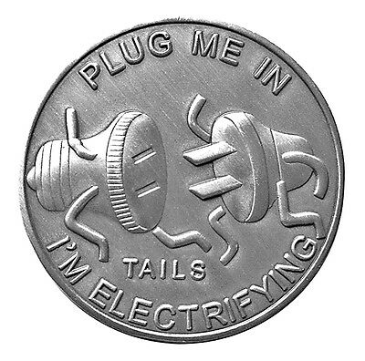 Man Humor Plug Me In Good Luck Head Tail Challenge Coin US SELLER FAST SHIPPING