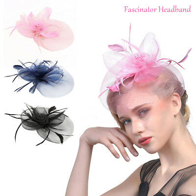 Women's Fascinator Hat Large Feather Headband Melbourne Cup Party Headpiece