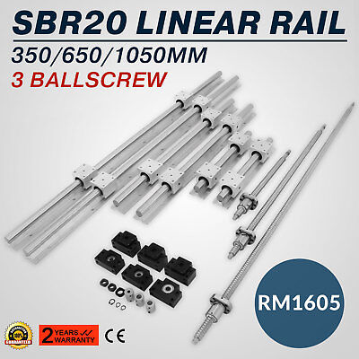 SBR20 Linear Rail+3 Ballscrew RM1605-350/650/1050mm Grinding Lathes Couplers