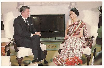PRESIDENT RONALD REAGAN with India Prime Minister INDIRA GANDHI POSTCARD