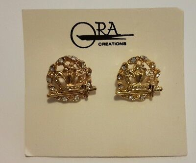 Masonic Order Of The Amaranth Rhinestones Gold-tone Cufflinks vintage ORA New