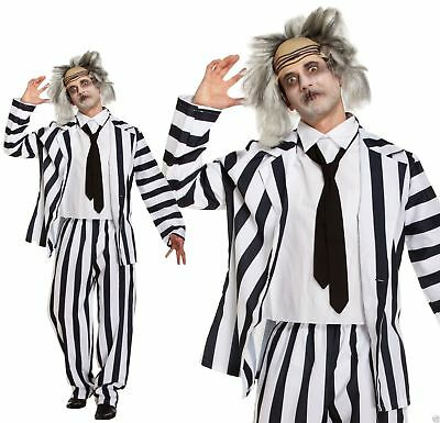 #Crazy Ghost Costume Halloween Spirit Ghoul Scary Stripy Fancy Dress Outfit XL