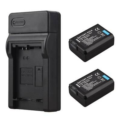 2pcs NP-FW50 Battery Replacement + Charger For Sony Alpha 7S a7S a3000 NEX-5N 5C
