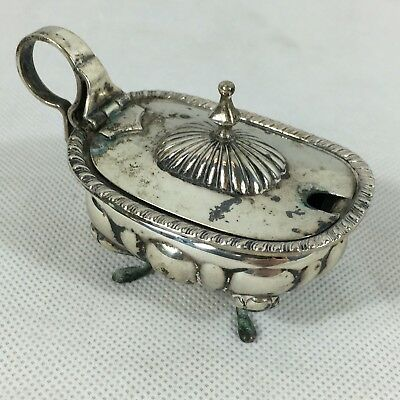 Vintage Silver Novelty Bath Mustard Pot W/ Glass Liner 800 Marked