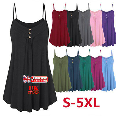 UK Women Loose Camisole Sleeveless Strappy Buttons Cami Vest Swing Tank Top 6-22