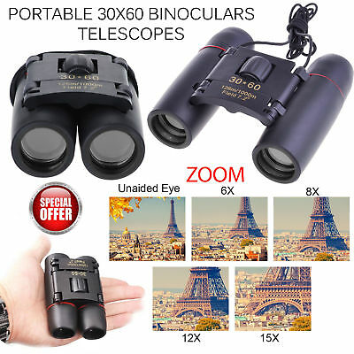 30 x 60 Compact Binoculars Foldable Roof Prism Pocket With Carry Case Camping IR