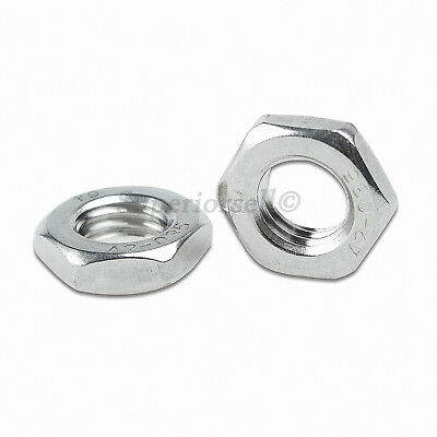 M6,8,10,12,16,18,20 Fine Thread Hex Half Thin Jam Nuts - A2 304 Stainless Steel