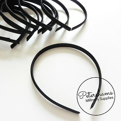 9mm Satin Covered Plastic Headband Headband for Fascinators & Millinery - Black