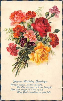 Joyous Birthday Greetings Happy Wishes Roses Carnation Flowers Bouquet 1930s