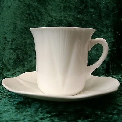 Vintage Shelley Dainty White Coffee Cup Saucer Duo 1910-45 Superb Condition