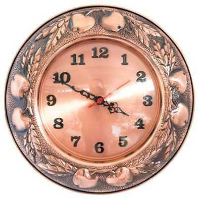 Wall clock copper polished with decoration fruit