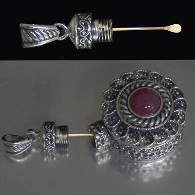 Nasal Infection Medicaments Snuff Pendant Mini Spoon Attached!  Ruby Sterling