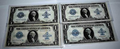 Lot Of 4 1923 United States Silver Certificate $ 1 Dollar Bills