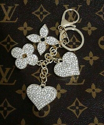 New Flower Heart Type Keychain Key Chain Bag Purse Charm Ring Crystals Keychain