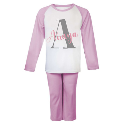 Personalised Letter and Name  Pyjamas Children's Birthday Pjs Christmas Gifts