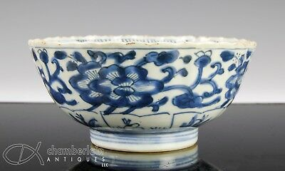 Antique Blue And White Chinese Porcelain Bowl With Molded Design  Kangxi Period