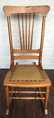 Antique Heywood Brothers Wakefield Company Birdseye Maple Nursing Rocking Chair
