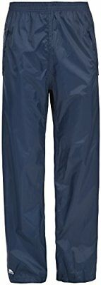 Trespass Packup Trouser, Navy, L, Compact Packaway Waterproof Trousers with 3 Po