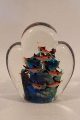 Decorative glass with colorful fish. In good condition.