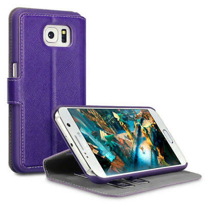 Terrapin Low Profile Thin PU Leather Wallet Case for Samsung Galaxy S6 Purple