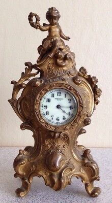Antique New Haven Usa Mantel Clock Baby Angel Fairy Guilded Gold Flowers