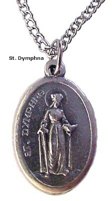 Saint Dymphna Medal Pendant Necklace Made in Italy