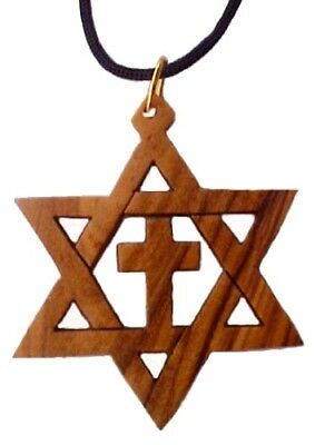 olive wood jewish star of david with cross messianic pendant