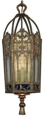HEAVY Antique SOLID Brass/Copper Gothic Stained Glass Lantern Pendant Hall Light