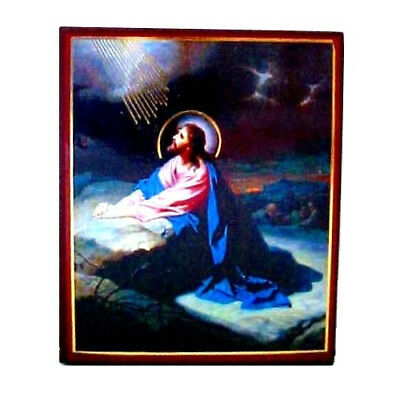 """Small Jesus Praying in the Garden 3.5"""" Decoupage Icon Wood Picture"""