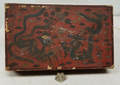 Antique Vintage Chinese Dragon Floral Lacquered Papier Mache Box Red Bronze