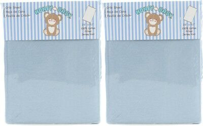 Honey Baby Solid Blue Toddler Bed or Crib Sheets 2-Pack (100% Cotton)