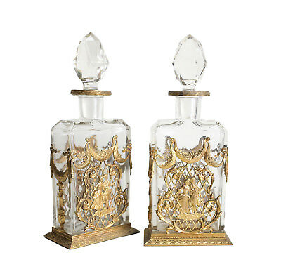 Pair of French Ormulu Gilt Bronze mounted Crystal Decanters c1900