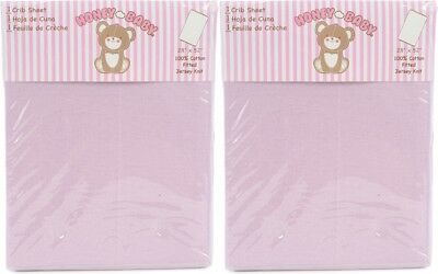 Honey Baby Solid Lavender Toddler Bed or Crib Sheets 2-Pack (100% Cotton)