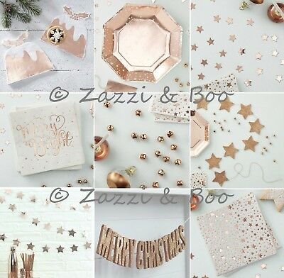 ROSE GOLD Party Decoration Tableware Balloons Plates CHRISTMAS TABLE GARLAND