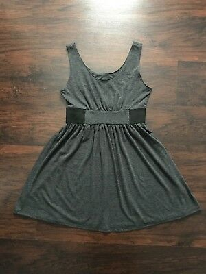 fa4d7397c4 Planet Gold Couture Babydoll Dress Gray with Black Waistband Size L EUC