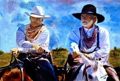 "Canvas Wall Wrap 20"" x 30"" Lonesome Dove Gus & Woodrow wrapped and Stretched"