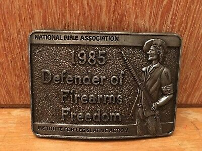 New NRA National Rifle Association 1985 Defender Of Firearms Freedom Belt Buckle