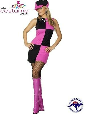 8e4efa4a946 SWINGING 60S GROOVY Hippy Pink And Black Square Printed Fancy Dress ...