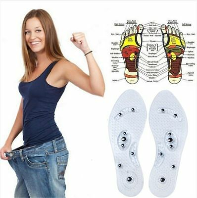 1 Pair Magnetic Therapy Insole Silicone Weight Loss Insoles for Men and Women US