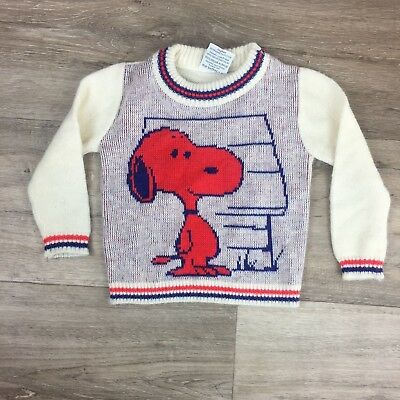 Vintage Unisex Children's Sweater Size 18/24 months Striped Snoopy Peanuts