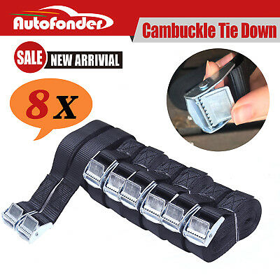 Cambuckle Tie Down Strap 25mm x 5m 8PC Cargo Ratchet Strap Rope Cam Buckle Truck